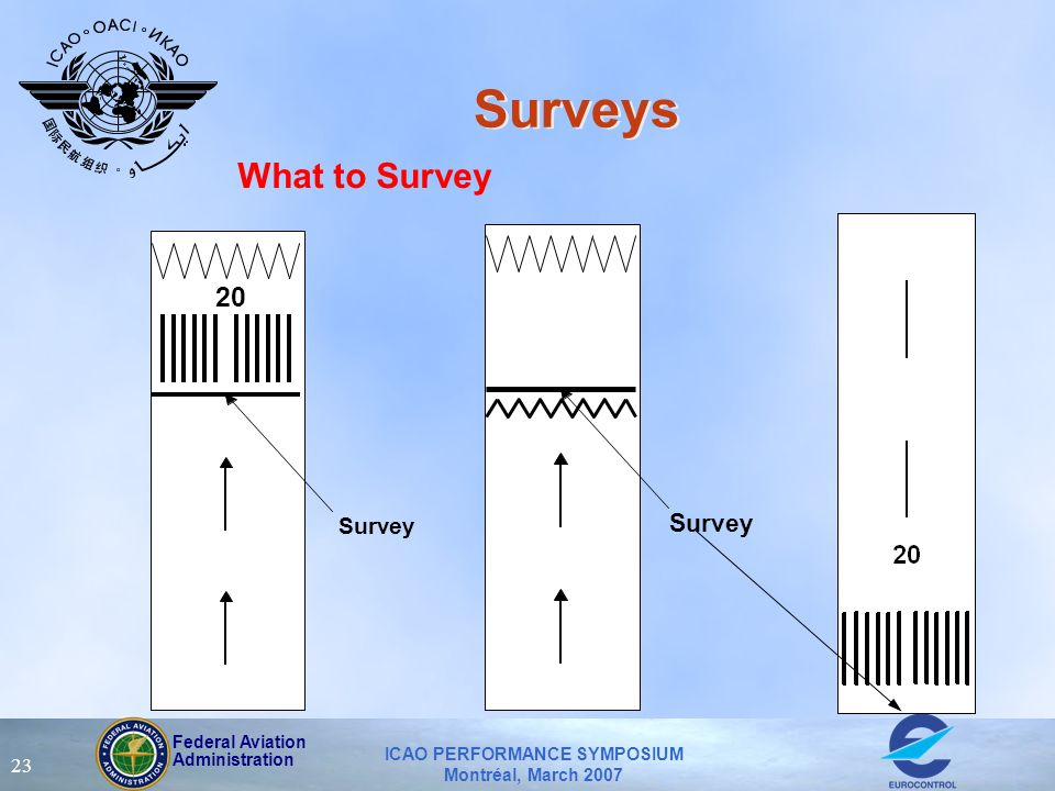 Federal Aviation Administration ICAO PERFORMANCE SYMPOSIUM Montréal, March 2007 23 Surveys What to Survey Survey 20