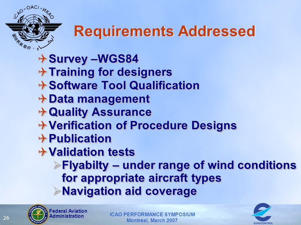 Federal Aviation Administration ICAO PERFORMANCE SYMPOSIUM Montréal, March 2007 26 Requirements Addressed QSurvey –WGS84 QTraining for designers QSoft