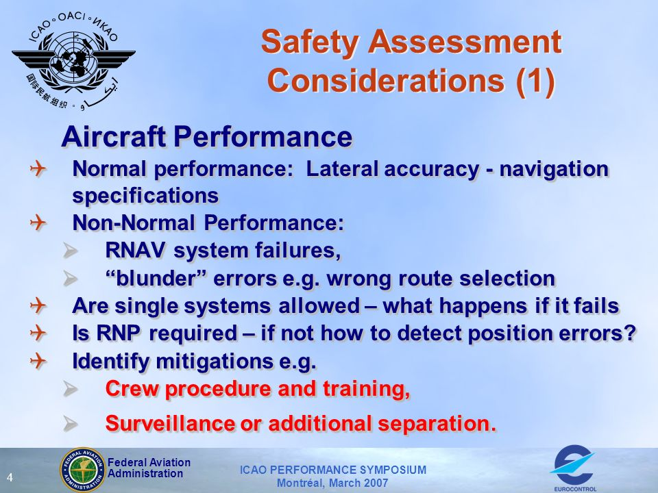 Federal Aviation Administration ICAO PERFORMANCE SYMPOSIUM Montréal, March 2007 4 Safety Assessment Considerations (1) Aircraft Performance QNormal pe