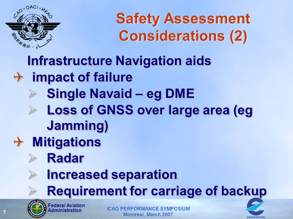 Federal Aviation Administration ICAO PERFORMANCE SYMPOSIUM Montréal, March 2007 5 Safety Assessment Considerations (2) Infrastructure Navigation aids