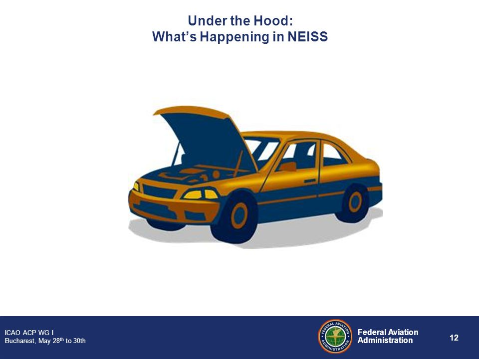 12 Federal Aviation Administration ICAO ACP WG I Bucharest, May 28 th to 30th Under the Hood: Whats Happening in NEISS