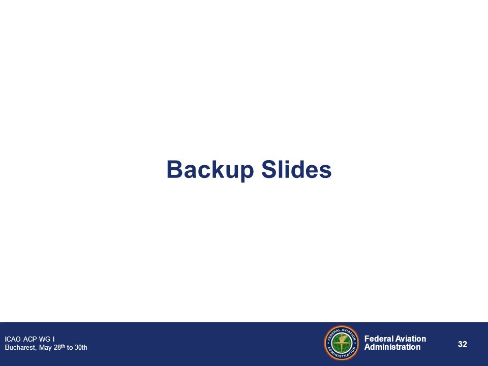 32 Federal Aviation Administration ICAO ACP WG I Bucharest, May 28 th to 30th Backup Slides