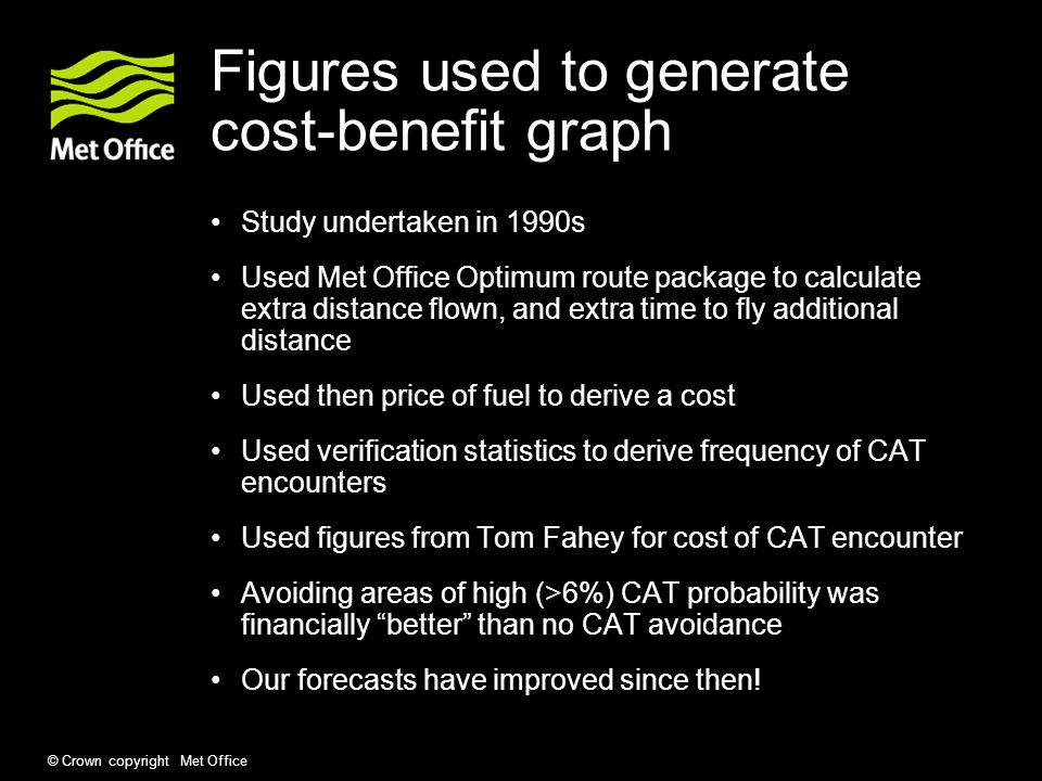 © Crown copyright Met Office Figures used to generate cost-benefit graph Study undertaken in 1990s Used Met Office Optimum route package to calculate extra distance flown, and extra time to fly additional distance Used then price of fuel to derive a cost Used verification statistics to derive frequency of CAT encounters Used figures from Tom Fahey for cost of CAT encounter Avoiding areas of high (>6%) CAT probability was financially better than no CAT avoidance Our forecasts have improved since then!