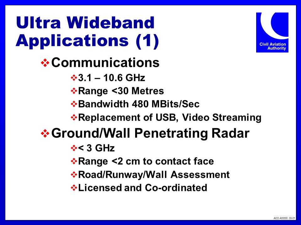 ACD A00000 00-01 Ultra Wideband Applications (1) Communications 3.1 – 10.6 GHz Range <30 Metres Bandwidth 480 MBits/Sec Replacement of USB, Video Stre