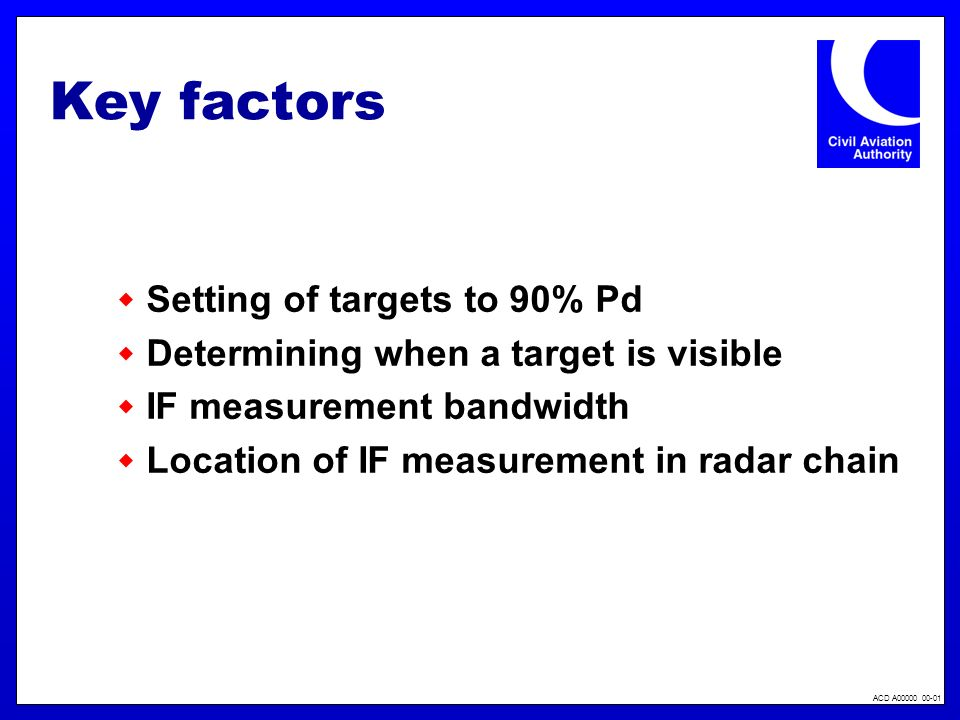 ACD A00000 00-01 Key factors Setting of targets to 90% Pd Determining when a target is visible IF measurement bandwidth Location of IF measurement in