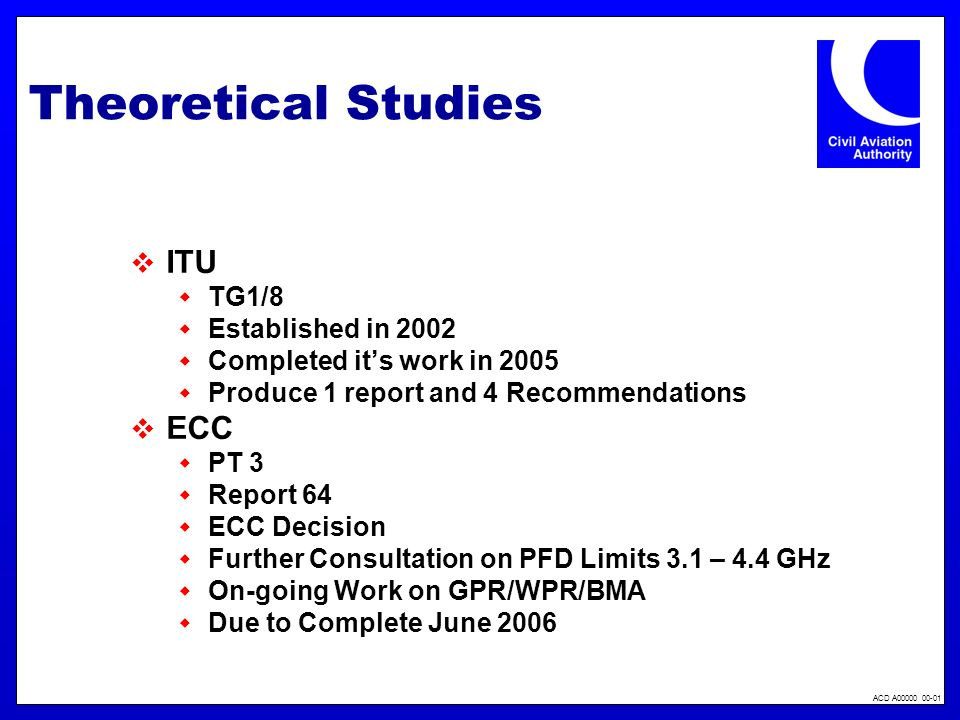 ACD A00000 00-01 Theoretical Studies ITU TG1/8 Established in 2002 Completed its work in 2005 Produce 1 report and 4 Recommendations ECC PT 3 Report 6