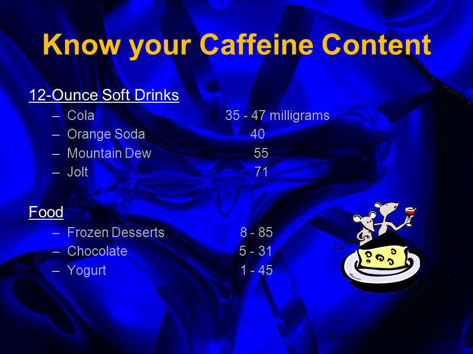 Know your Caffeine Content 8-Ounce Coffee Beverage –Instant 25 – 102 milligrams –Drip115 – 250 –Brewed 80 – 135 –Expresso (4 ounce) –Decaf 2 – 10 8-Ounce Tea Beverage –Instant 15 – 30 –Brewed –Iced Tea 10 – 50 –Decaf Source: NBAA Alert Traveler