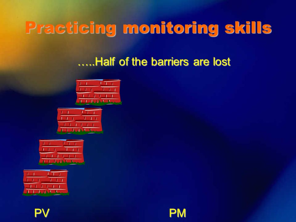 PVPM …..Half of the barriers are lost Practicing monitoring skills