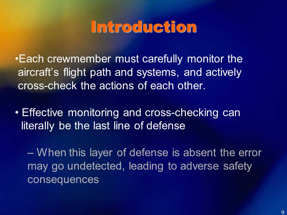 Introduction Each crewmember must carefully monitor the aircrafts flight path and systems, and actively cross-check the actions of each other. Effecti