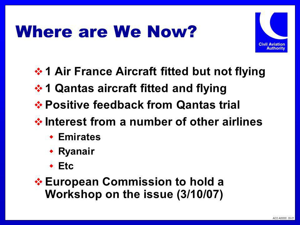 ACD A00000 00-01 Where are We Now? 1 Air France Aircraft fitted but not flying 1 Qantas aircraft fitted and flying Positive feedback from Qantas trial