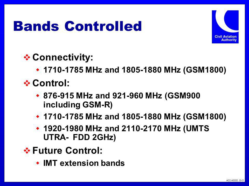 ACD A00000 00-01 Bands Controlled Connectivity: 1710-1785 MHz and 1805-1880 MHz (GSM1800) Control: 876-915 MHz and 921-960 MHz (GSM900 including GSM-R