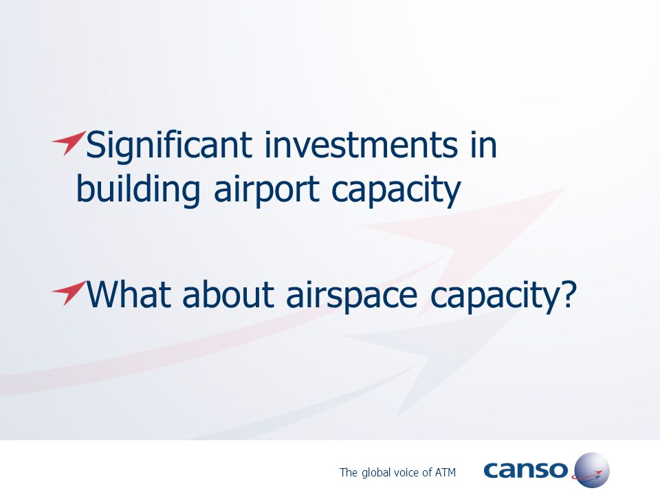 The global voice of ATM Significant investments in building airport capacity What about airspace capacity