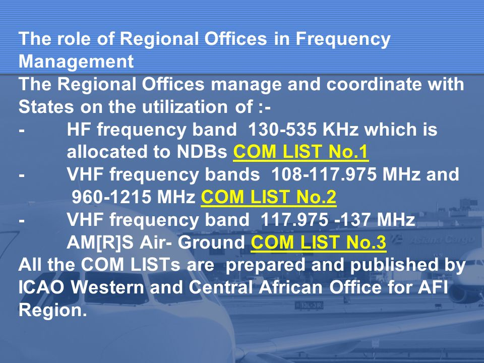 International Civil Aviation Organization Middle East Office Seminar On Aeronautical Spectrum Management Cairo, 4 - 6 June 2006 Agenda Item 6:- Frequency Management in AFI and MID Regions Presented by Mary Obeng RO/CNS, Dakar Office