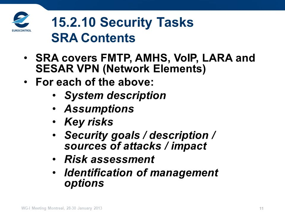 WG-I Meeting Montreal, January Security Tasks SRA Contents SRA covers FMTP, AMHS, VoIP, LARA and SESAR VPN (Network Elements) For each of the above: System description Assumptions Key risks Security goals / description / sources of attacks / impact Risk assessment Identification of management options