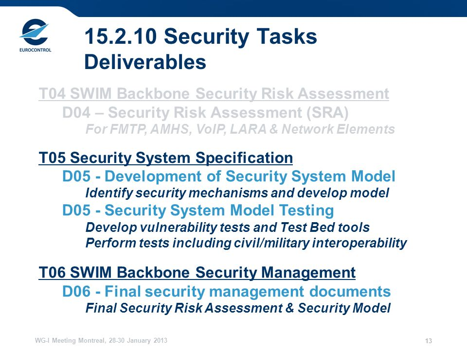 WG-I Meeting Montreal, January Security Tasks Deliverables T04 SWIM Backbone Security Risk Assessment D04 – Security Risk Assessment (SRA) For FMTP, AMHS, VoIP, LARA & Network Elements T05 Security System Specification D05 - Development of Security System Model Identify security mechanisms and develop model D05 - Security System Model Testing Develop vulnerability tests and Test Bed tools Perform tests including civil/military interoperability T06 SWIM Backbone Security Management D06 - Final security management documents Final Security Risk Assessment & Security Model