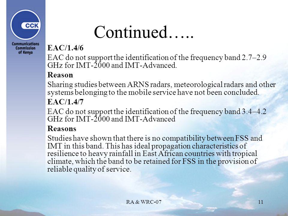 RA & WRC-0711 Continued…..