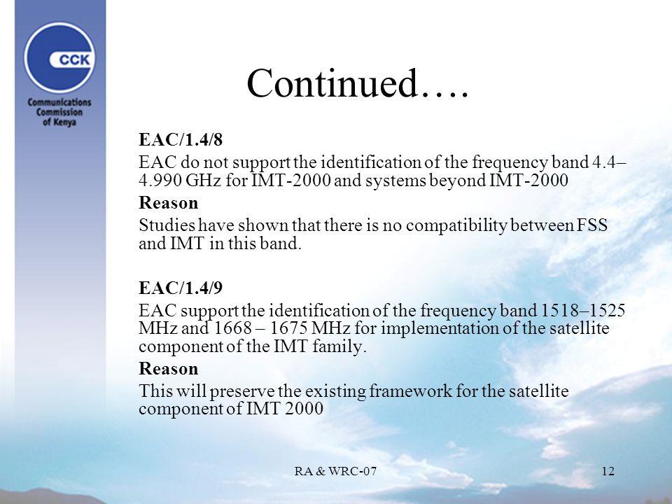 RA & WRC-0712 Continued….