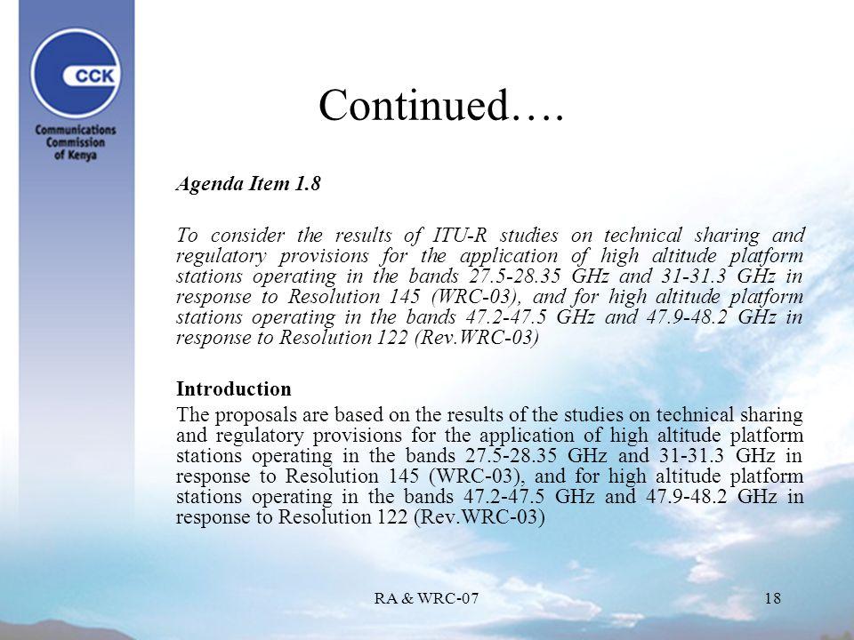 RA & WRC-0718 Continued….