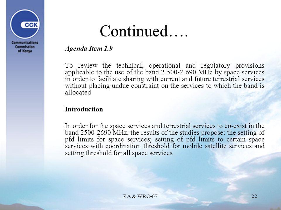 RA & WRC-0722 Continued….