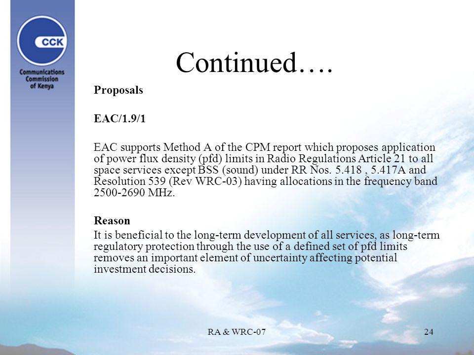 RA & WRC-0724 Continued….