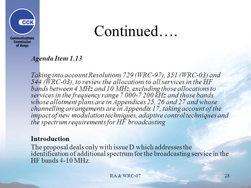RA & WRC-0728 Continued….