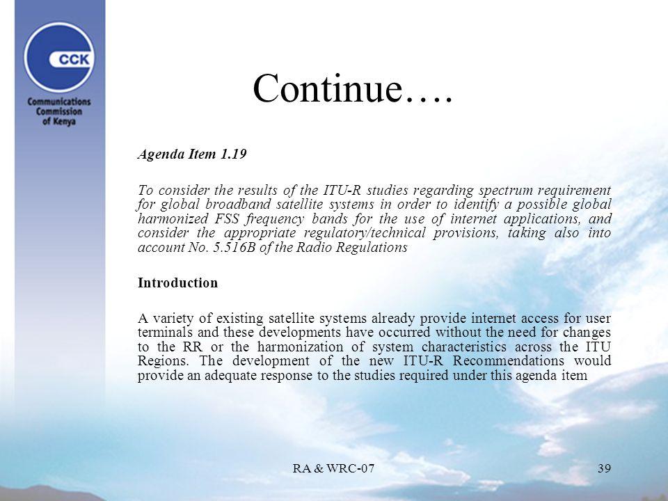 RA & WRC-0739 Continue….