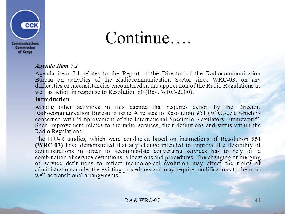 RA & WRC-0741 Continue….