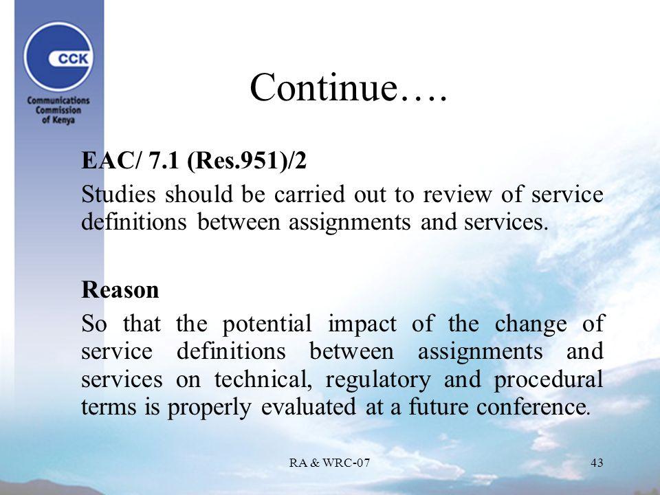 RA & WRC-0743 Continue….