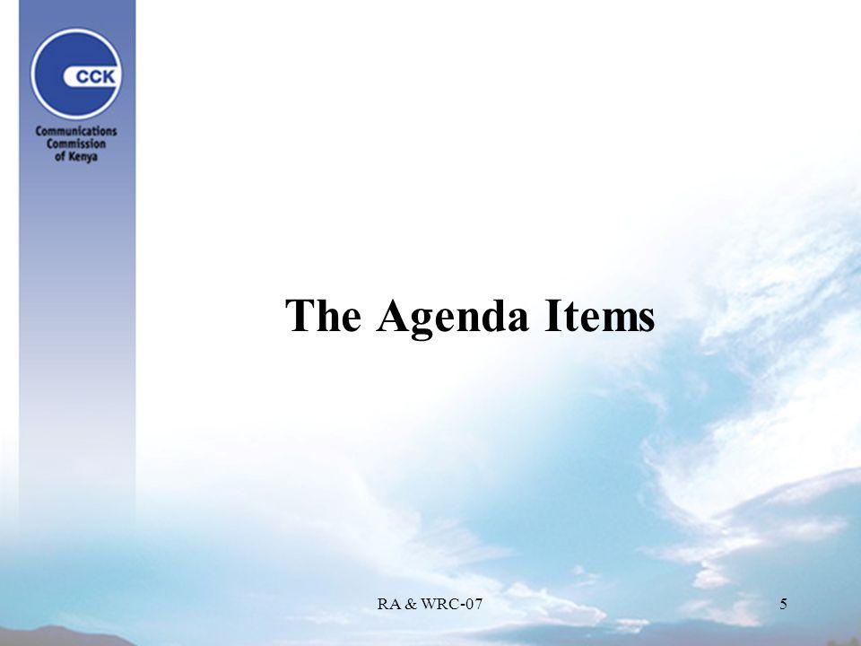 RA & WRC-075 The Agenda Items