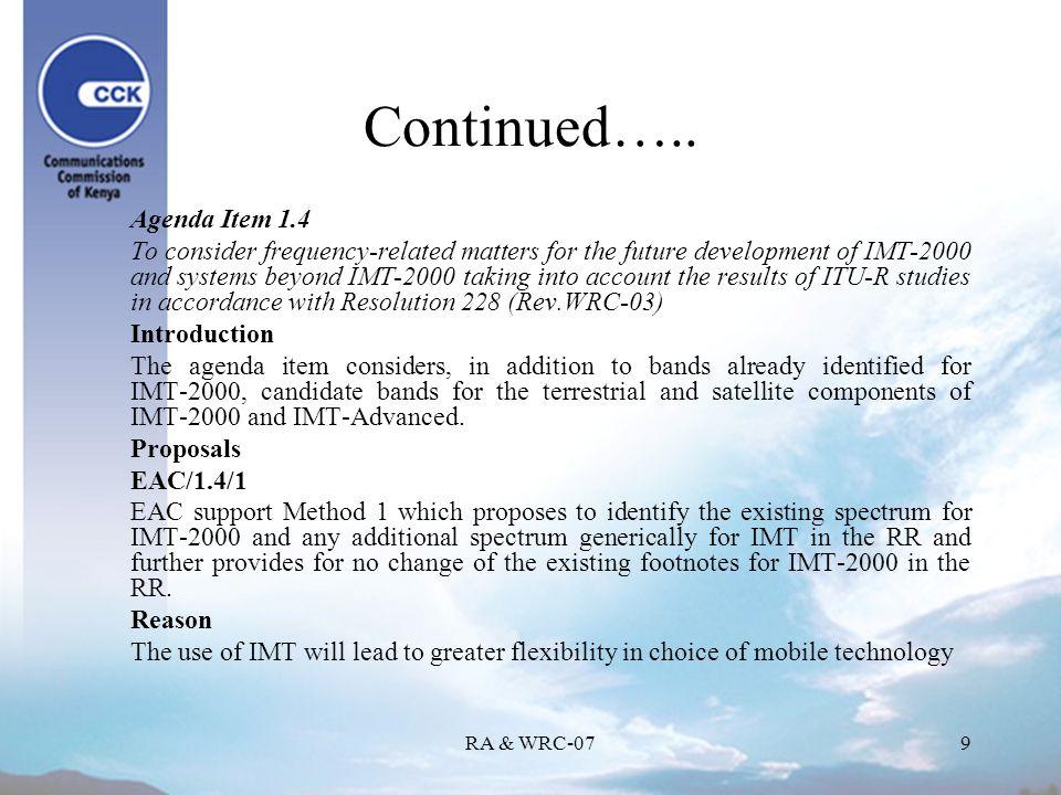RA & WRC-079 Continued…..