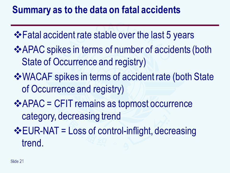 Slide 21 Fatal accident rate stable over the last 5 years APAC spikes in terms of number of accidents (both State of Occurrence and registry) WACAF sp
