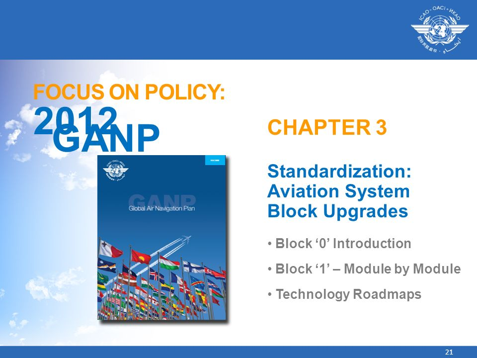 21 FOCUS ON POLICY: 2012 GANP CHAPTER 3 Standardization: Aviation System Block Upgrades Block 0 Introduction Block 1 – Module by Module Technology Roa