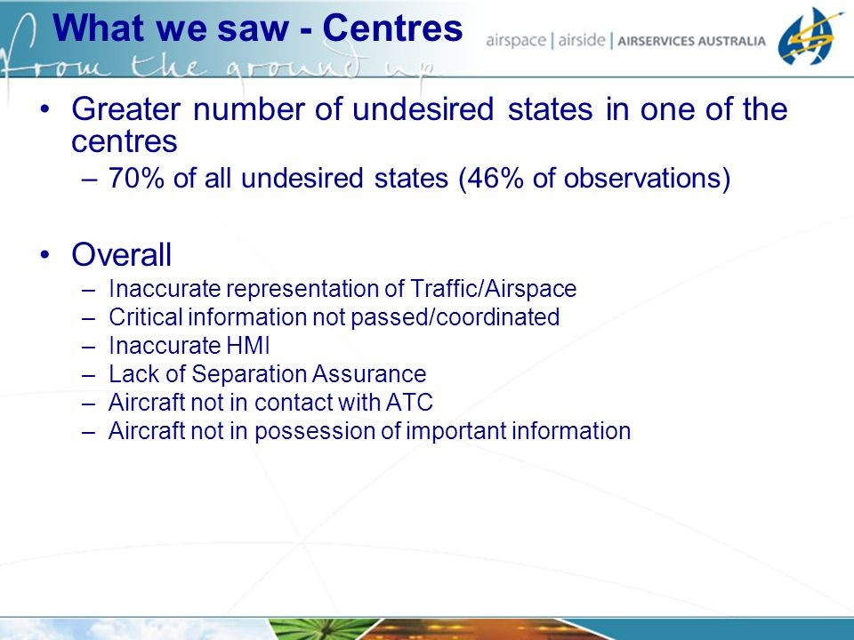 Greater number of undesired states in one of the centres –70% of all undesired states (46% of observations) Overall –Inaccurate representation of Traf