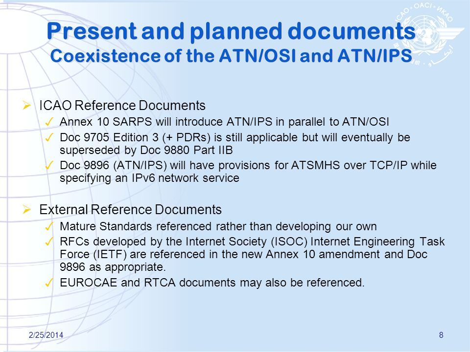 2/25/20148 Present and planned documents Co existence of the ATN/OSI and ATN/IPS ICAO Reference Documents Annex 10 SARPS will introduce ATN/IPS in par