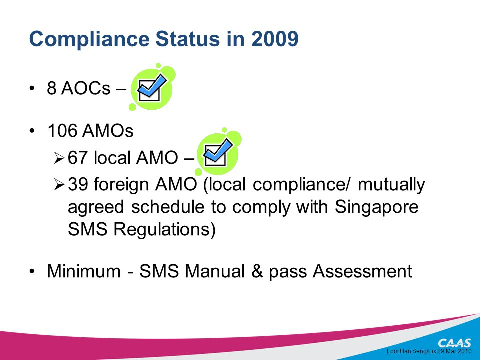 Compliance Status in 2009 8 AOCs – 106 AMOs 67 local AMO – 39 foreign AMO (local compliance/ mutually agreed schedule to comply with Singapore SMS Reg