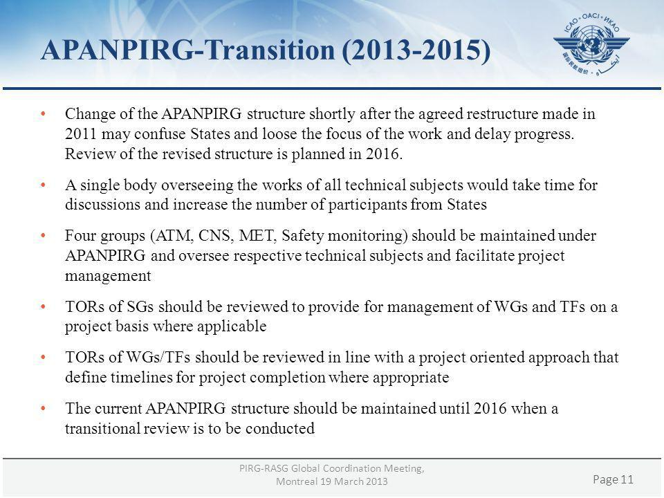 Page 11 APANPIRG-Transition (2013-2015) Change of the APANPIRG structure shortly after the agreed restructure made in 2011 may confuse States and loos