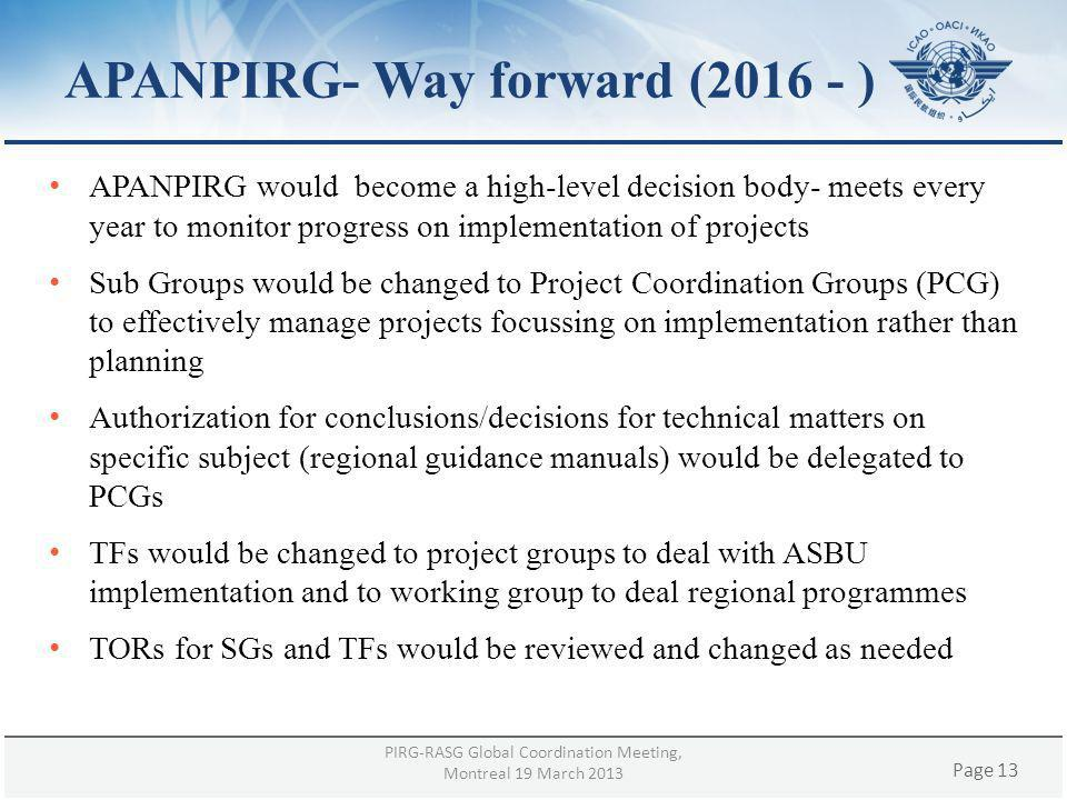 Page 13 APANPIRG- Way forward (2016 - ) APANPIRG would become a high-level decision body- meets every year to monitor progress on implementation of pr