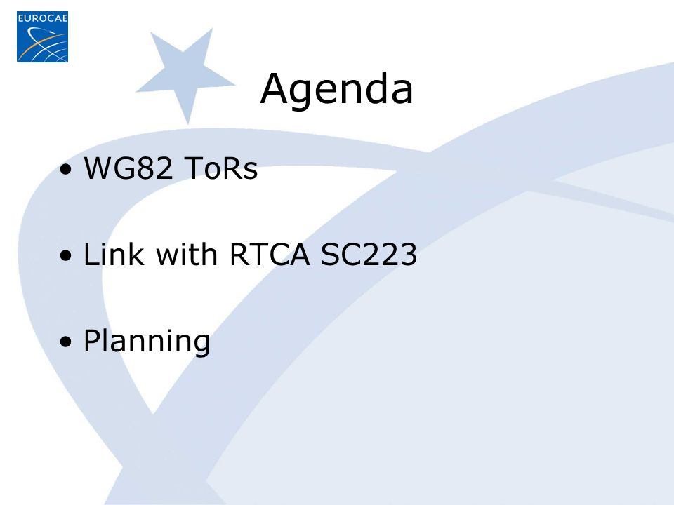 Agenda WG82 ToRs Link with RTCA SC223 Planning