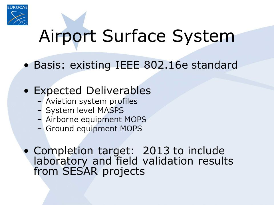 Airport Surface System Basis: existing IEEE 802.16e standard Expected Deliverables –Aviation system profiles –System level MASPS –Airborne equipment MOPS –Ground equipment MOPS Completion target: 2013 to include laboratory and field validation results from SESAR projects