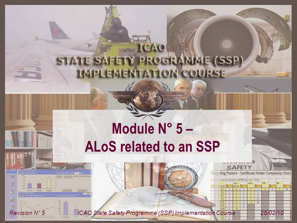 Module N° 5ICAO State Safety Programme (SSP) Implementation Course 2 SSP – A structured approach Module 2 Basic safety management concepts Module 2 Basic safety management concepts Module 3 ICAO SARPs related to safety management Module 3 ICAO SARPs related to safety management Module 4 ICAO SSP framework Module 4 ICAO SSP framework Module 5 ALoS related to an SSP Module 5 ALoS related to an SSP Module 6 Prescription / Performance Module 6 Prescription / Performance Module 8 SSP implementation plan Module 8 SSP implementation plan Module 1 Introduction to the SSP implementation course Module 7 SSP training programme Module 7 SSP training programme Module 5 ALoS related to an SSP Module 5 ALoS related to an SSP