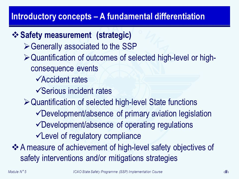 Module N° 5ICAO State Safety Programme (SSP) Implementation Course 10 Safety measurement (strategic) Generally associated to the SSP Quantification of