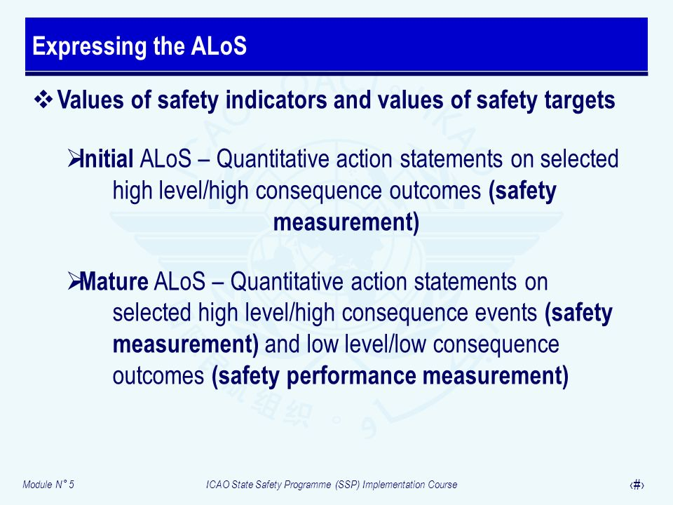 Module N° 5ICAO State Safety Programme (SSP) Implementation Course 14 Values of safety indicators and values of safety targets Initial ALoS – Quantita