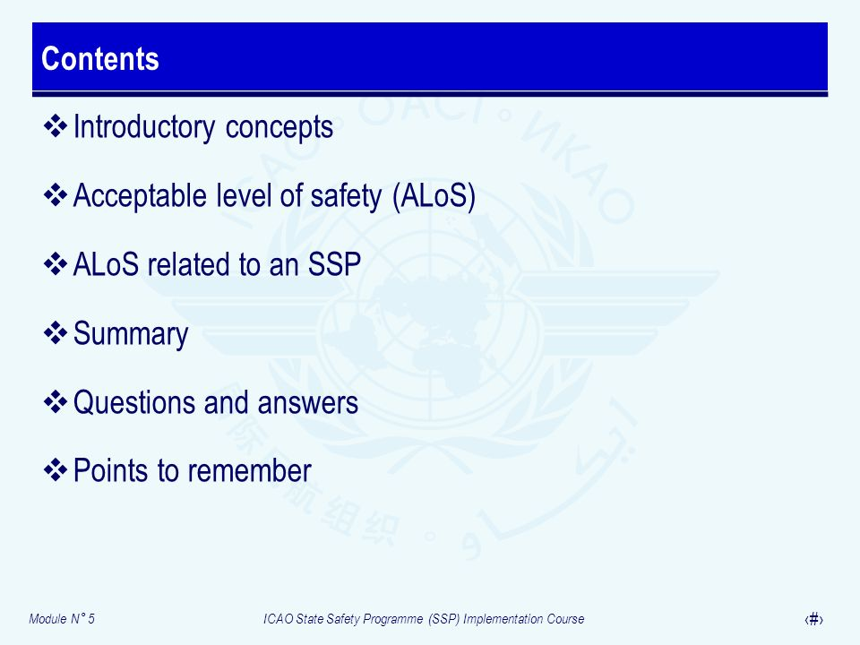 Module N° 5ICAO State Safety Programme (SSP) Implementation Course 4 Introductory concepts Acceptable level of safety (ALoS) ALoS related to an SSP Su