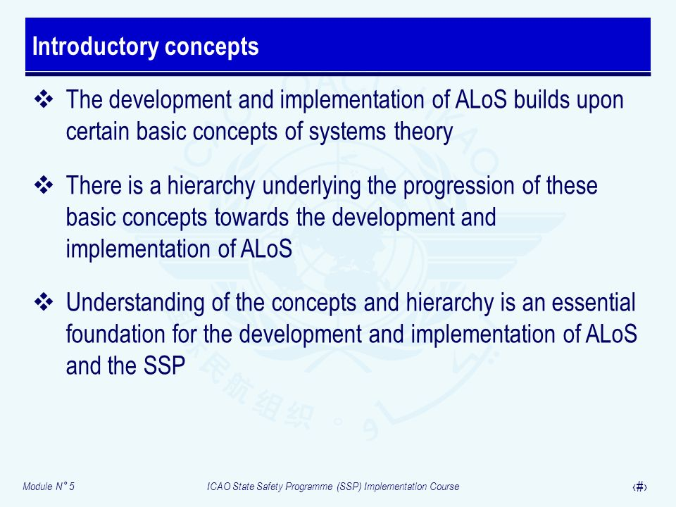 Module N° 5ICAO State Safety Programme (SSP) Implementation Course 5 The development and implementation of ALoS builds upon certain basic concepts of