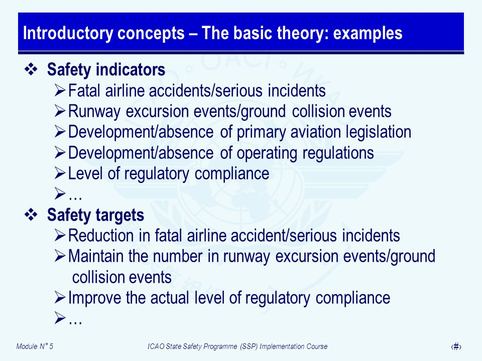 Module N° 5ICAO State Safety Programme (SSP) Implementation Course 8 Safety indicators Fatal airline accidents/serious incidents Runway excursion even