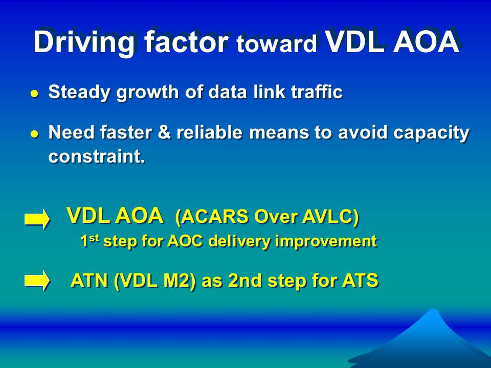 Driving factor toward VDL AOA Steady growth of data link traffic Need faster & reliable means to avoid capacity constraint. Steady growth of data link