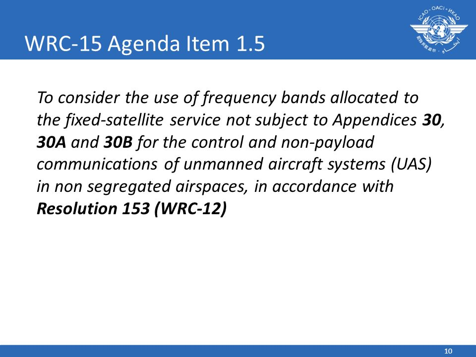 10 WRC-15 Agenda Item 1.5 To consider the use of frequency bands allocated to the fixed-satellite service not subject to Appendices 30, 30A and 30B fo