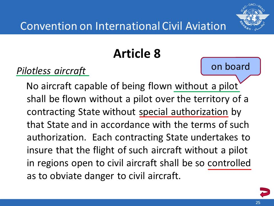 Convention on International Civil Aviation Article 8 Pilotless aircraft No aircraft capable of being flown without a pilot shall be flown without a pi
