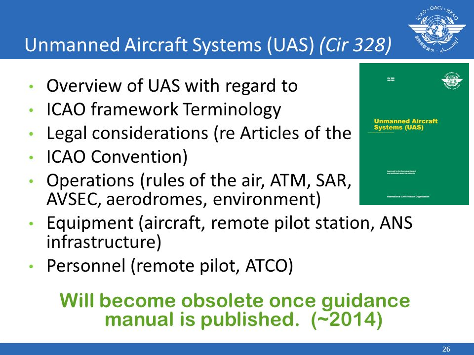 Unmanned Aircraft Systems (UAS) (Cir 328) Overview of UAS with regard to ICAO framework Terminology Legal considerations (re Articles of the ICAO Conv