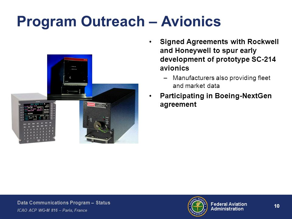 Data Communications Program – Status ICAO ACP WG-M #16 – Paris, France 10 Program Outreach – Avionics Signed Agreements with Rockwell and Honeywell to